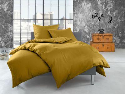 Bettwaesche-mit-Stil Flanell Bettwäsche 155x200 uni / einfarbig gold