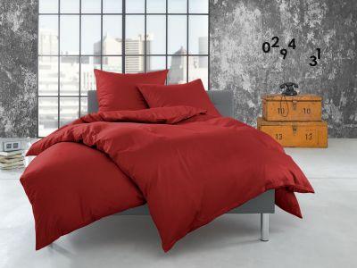 Bettwaesche-mit-Stil Flanell Bettwäsche 155x200 uni / einfarbig rot