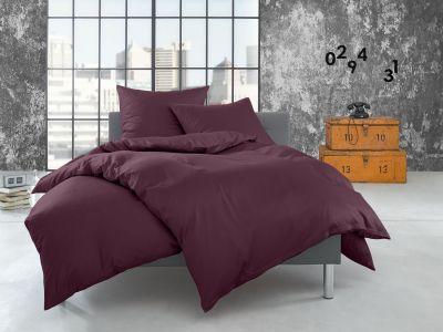Bettwaesche-mit-Stil Flanell Bettwäsche 155x220 uni / einfarbig brombeer