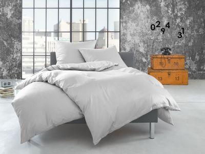 Bettwaesche-mit-Stil Flanell Bettwäsche 155x220 uni / einfarbig weiß