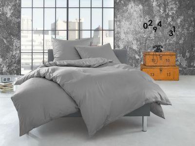Bettwaesche-mit-Stil Flanell Bettwäsche 155x220 uni / einfarbig grau