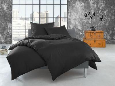 Bettwaesche-mit-Stil Flanell Bettwäsche 200x220 uni / einfarbig anthrazit