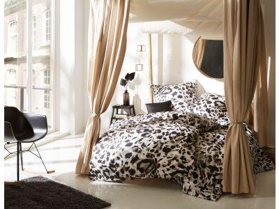 Mako Satin Bettwäsche Leopard weiß 155x200