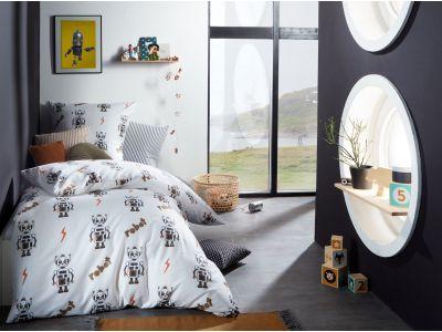 Mako Satin Kinder Bettwäsche Roboter weiß