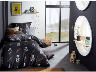 Mako Satin Kinder Bettwäsche Roboter anthrazit