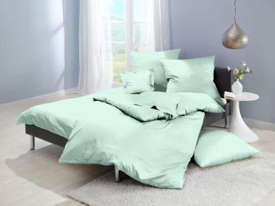 Lorena Mako-Satin uni einfarbige Bettwäsche Classic icegreen-eisgrün