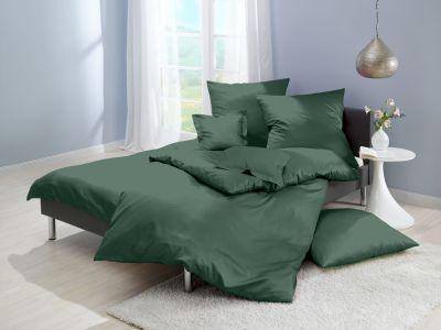 Lorena Mako-Satin uni einfarbige Bettwäsche Classic forest-dunkelgrün