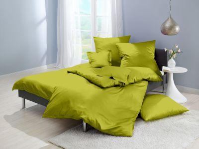 Lorena Mako-Satin einfarbige Bettwäsche Classic apfelgrün