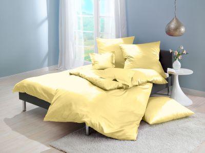 Lorena Mako-Satin uni einfarbige Bettwäsche Classic gelb
