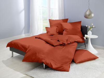 Lorena Mako-Satin uni einfarbige Bettwäsche Classic orange