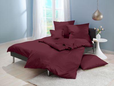 Lorena Mako-Satin uni einfarbige Bettwäsche Classic rubin-rot