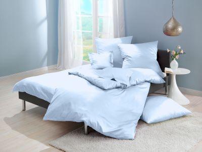 Lorena Mako-Satin uni einfarbige Bettwäsche Classic blue-blau