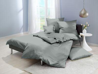 Lorena Mako-Satin uni einfarbige Bettwäsche Classic taube-grau