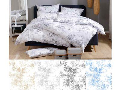 Lorena Mako-Satin Toile-de-Jouy Bettwäsche 155x220 Marie in anthrazit, beige, silber oder hellblau