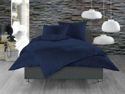 Bettwaesche-mit-Stil Mako Satin Damast Bettwäsche 155x220 Waves Dunkel Blau