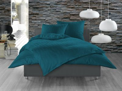 Bettwaesche-mit-Stil Mako Satin Damast Bettwäsche 155x220 Waves petrolblau