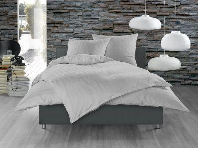 Bettwaesche-mit-Stil Mako Satin Damast Bettwäsche 155x220 Waves grau