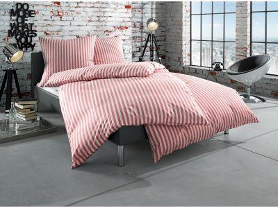 """Bettwaesche-mit-Stil Mako-Batist Landhaus Bettwäsche 155x220 """"Oslo"""" Streifen rot"""