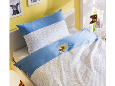 Mako-Satin Kinder Bettwäsche Mond-Bär 100x135 + 40x60 cm Blau von Bettwaesche-mit-Stil