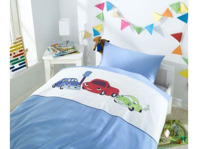 Lorena Mako-Satin Kinder-Bettwäsche Car Race Blau