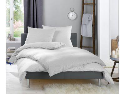 Lorena Feinflanellbettwäsche 155x220 Daphne Karo und Streifen grau