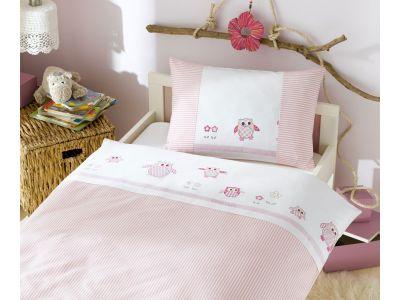 Lorenchen von Lorena Mako-Batist Kinder-Bettwäsche Eule Rosa