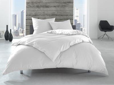 """Renforcé / Linon HotelBettwäsche 200x220 cm """"Lia"""" 100% Baumwolle weiß uni einfarbig"""