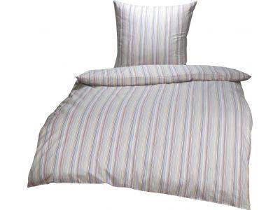 Bettwaesche-mit-Stil Mako Perkal/Batist Streifen Bettwäsche Multicolor Blau/Orange Garnitur 135x200 + 80x80