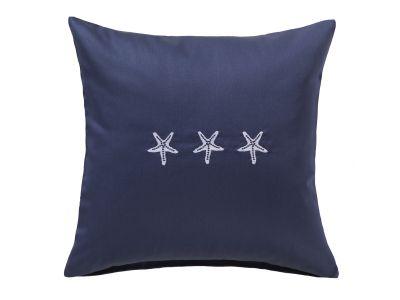Bestickter Mako-Satin Kissenbezug maritim dunkelblau mit Seesternen