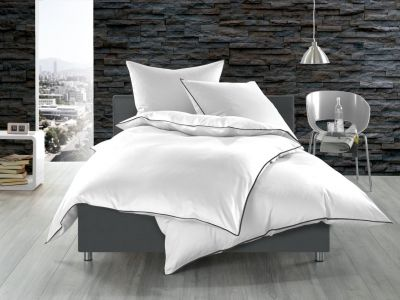 Bettwäsche 155x200 Mako Satin mit Zierband selbst gestalten