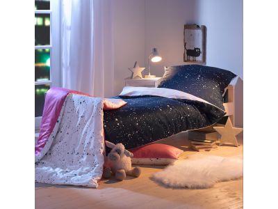 Lorenchen von Lorena Mako-Satin Kinder-Bettwäsche Sternenhimmel rosa oder blau