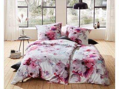 Mako Satin Blumen Bettwäsche Magnolie 200x220 cm rosa türkis
