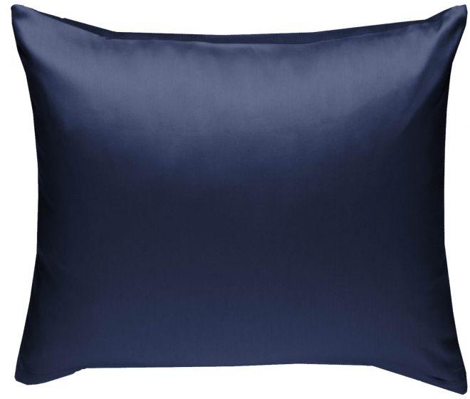 Mako Satin Kissenbezug dunkelblau 100% Baumwolle von Bettwaesche-mit-Stil