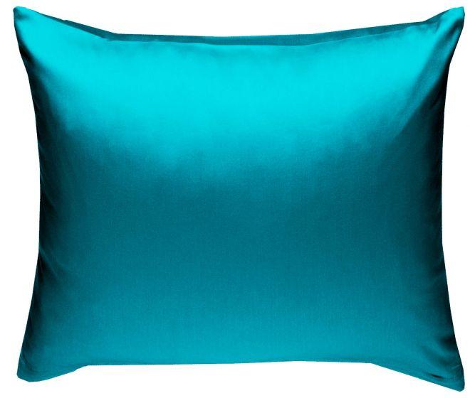 Mako Satin Kissenbezug petrolblau 100% Baumwolle von Bettwaesche-mit-Stil
