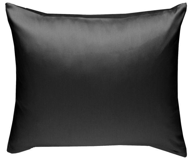 Mako Satin Kissenbezug schwarz 100% Baumwolle von Bettwaesche-mit-Stil