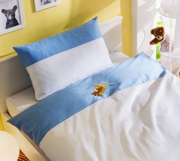 Mako-Satin Kinder Bettwäsche Mond-Bär Blau von Bettwaesche-mit-Stil