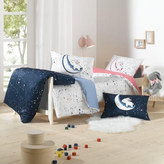 Lorenchen von Lorena Mako-Satin Kinder-Bettwäsche Luna Hase rosa oder blau