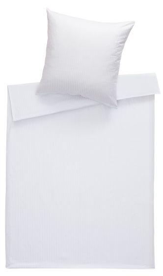 Mako Satin Damast Bettwäsche 200x220 cm Stripes 10mm weiß