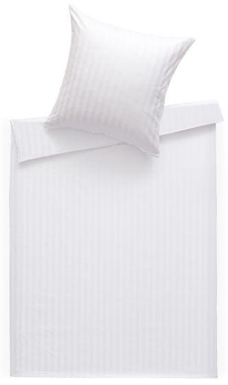 Bettwaesche-mit-Stil Mako Satin Damast Bettwäsche Stripes 20mm weiß