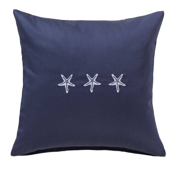 Bettwaesche-mit-Stil Mako-Satin Kissenbezug maritim Seesterne dunkelblau-weiss