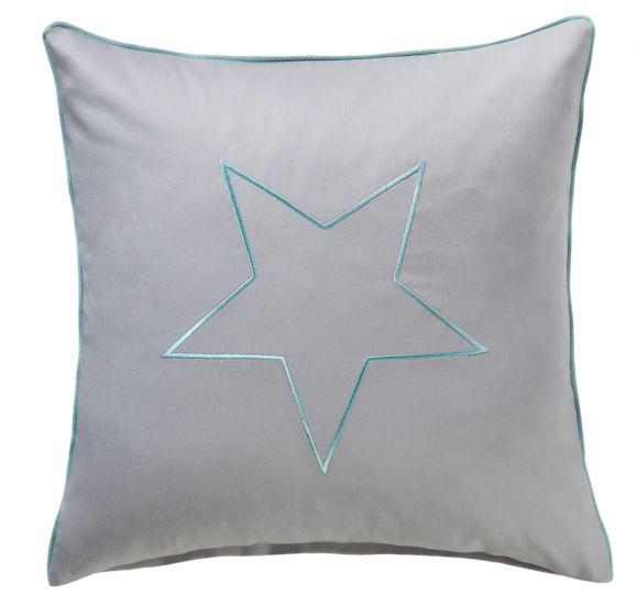 Bettwaesche-mit-Stil Mako-Satin Kissenbezug maritim Stern grau
