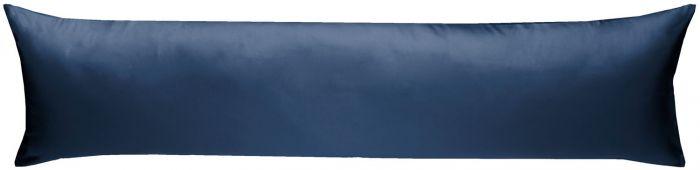 Mako-Satin Seitenschläferkissen Bezug uni / einfarbig dunkelblau 40x145 cm von Bettwaesche-mit-Stil