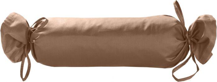 Mako-Satin / Baumwollsatin Nackenrollen Bezug uni / einfarbig hellbraun 15x40 cm mit Bändern