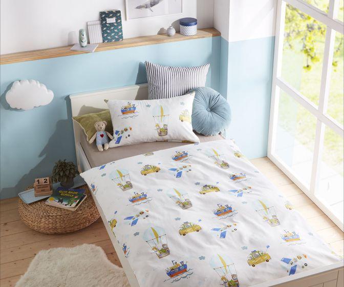 Lorenchen von Lorena Mako-Satin Kinder Bettwäsche Abenteuerurlaub
