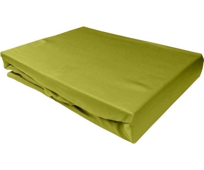 Bettwaesche-mit-Stil Mako-Satin Spannbettlaken grün