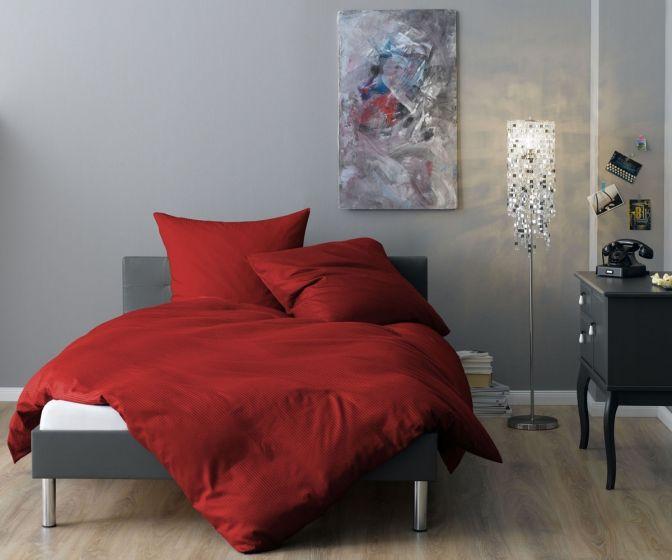 Lorena Mako Satin Streifen Bettwäsche 200x220 cm Venedig rot