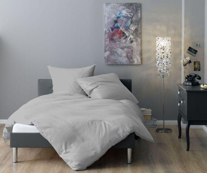 Lorena Mako Satin Streifen Bettwäsche 200x220 cm Venedig grau