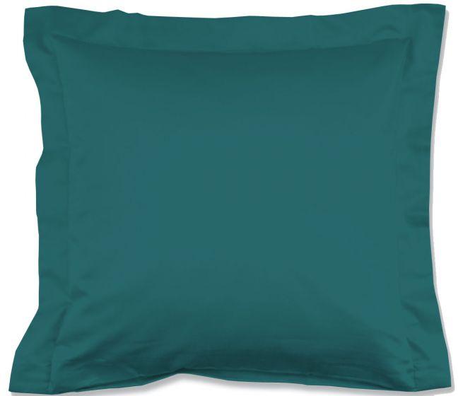 Lorena Mako-Satin einfarbiges Kissen mit Stehsaum Classic ozeanblau