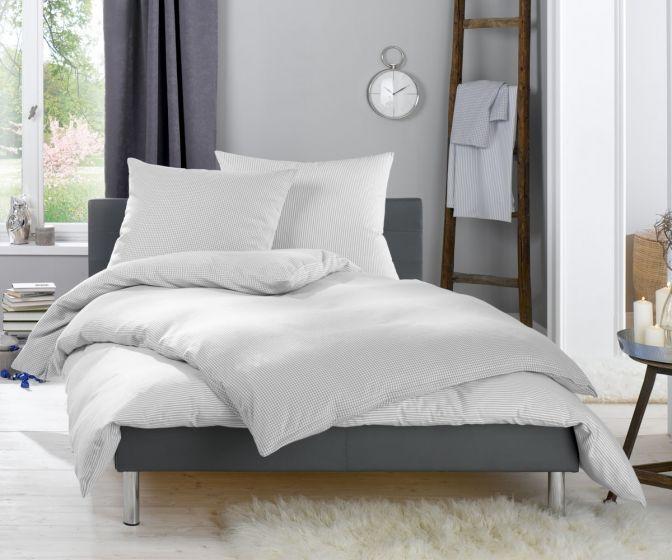 Lorena Fein FlanellBettwäsche 200x220 cm Daphne Karo und Streifen grau