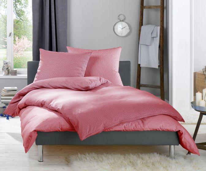 Lorena Fein FlanellBettwäsche 200x220 cm Daphne Karo und Streifen rot